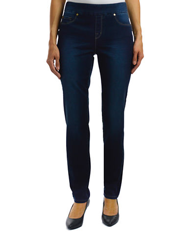 Haggar Petite Pull-On Dream Jeans-NAVY-Petite 16