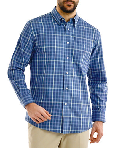 Haggar Long Sleeve Twill Plaid Shirt-BLUE-Small