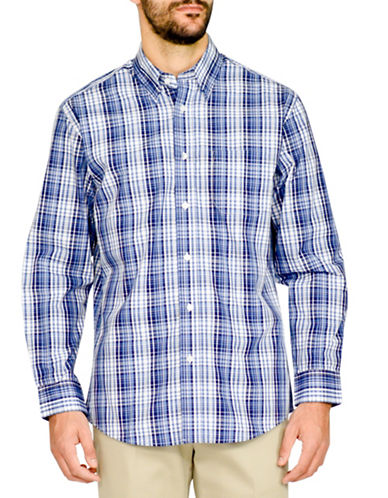 Haggar Tonal Plaid Easy-Care Shirt-BLUE-Large