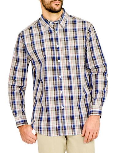 Haggar Tonal Multi Plaid Easy-Care Shirt-NAVY-Medium
