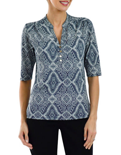 Haggar Printed Split Neck Top-MULTI-Medium plus size,  plus size fashion plus size appare