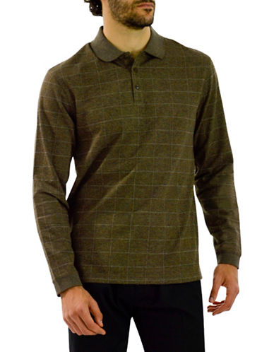Haggar Jacquard Windowpane Plaid Polo-BROWN-XXX-Large