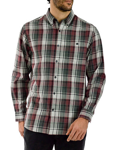 Haggar Heritage Brushed Cotton Heather Plaid Shirt-BURGUNDY-Medium