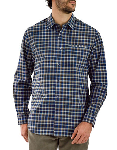 Haggar Heritage Poplin Shadow Check Shirt-BROWN-Medium