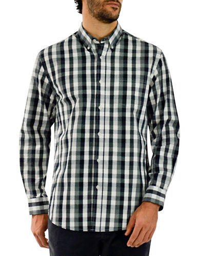 Haggar Heritage Flannel Check Shirt-BLACK-Medium