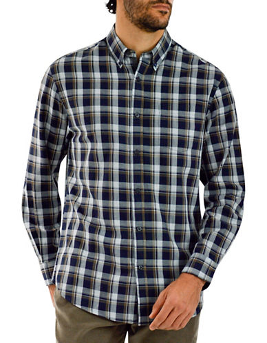 Haggar Heritage Brushed Cotton Plaid Shirt-NAVY-Medium