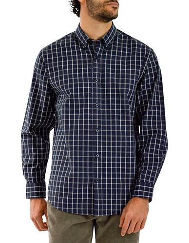 Haggar Heritage Brushed Cotton Windowpane Shirt-NAVY-Large