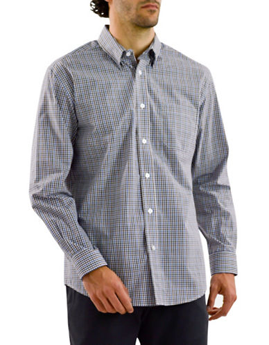 Haggar Long Sleeve CVC Multi-Check Shirt-BLUE-Medium