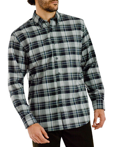 Haggar Long Sleeve CVC Large Plaid Shirt-GREY-Large