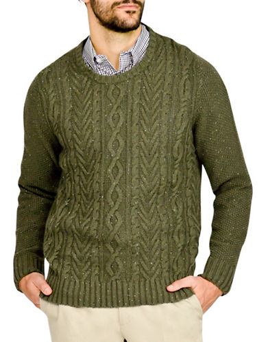 Haggar Cable Knit Crew Neck Sweater-GREEN-Large