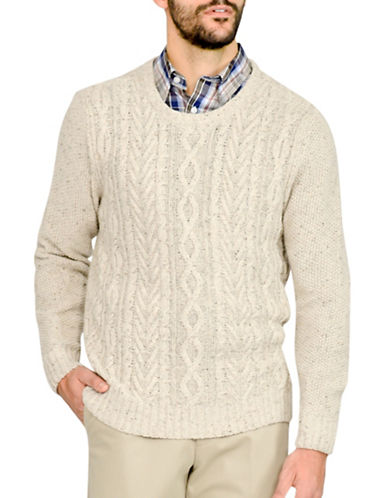 Haggar Cable Knit Crew Neck Sweater-OATMEAL HEATHER-X-Large