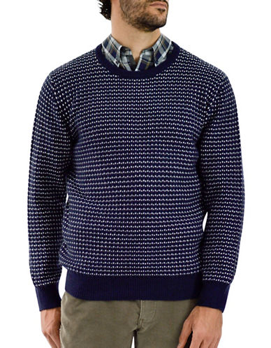 Haggar Heritage Crew Neck Birdseye Wool-Blend Sweater-NAVY-Large
