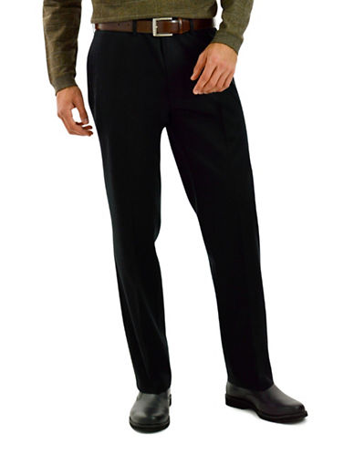 Haggar Premium No Iron Straight Fit Khaki Pants-BLACK-34X34