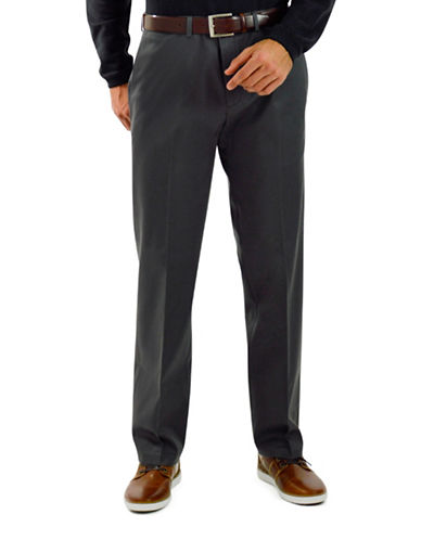 Haggar Premium No Iron Straight Fit Khaki Pants-DARK GREY-34X32