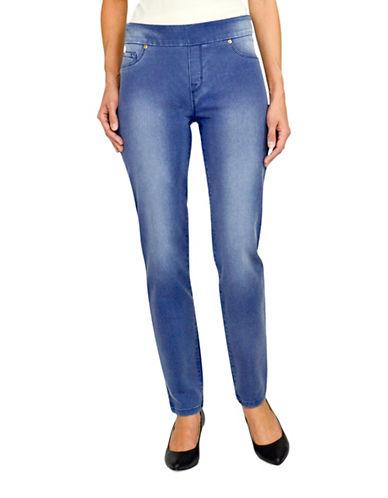 Haggar Petite Dream Pull-On Jeans-BLUE-Petite 16