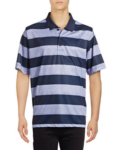 Haggar C18 Regular Fit Printed Stripe Polo-NAVY-Large