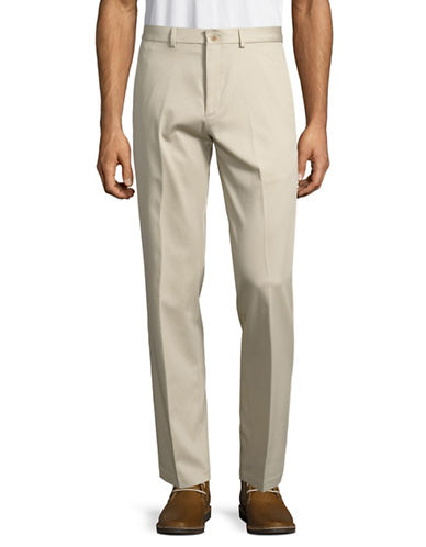 Haggar Premium No Iron Straight Fit Khaki Pants-SAND-34X30