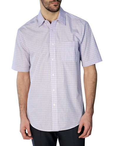 Haggar Short Sleeve Tattersall Shirt-PINK-Small