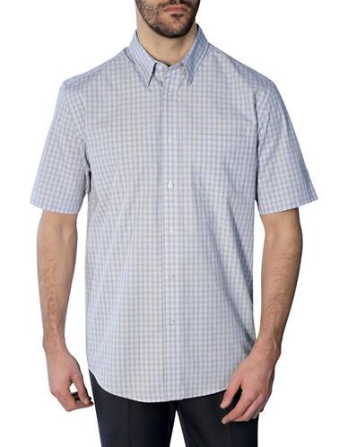 Haggar Short Sleeve Tattersall Shirt-BLUE-Large