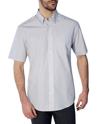 Haggar Short Sleeve Mini Grid Shirt-WHITE-Medium