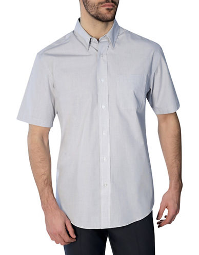 Haggar Short Sleeve Mini Grid Shirt-WHITE-Small