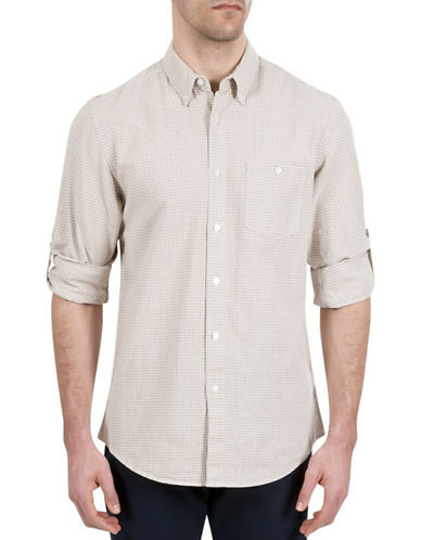 Haggar Regular-Fit Roll-Tab Gingham Shirt-NATURAL-X-Large