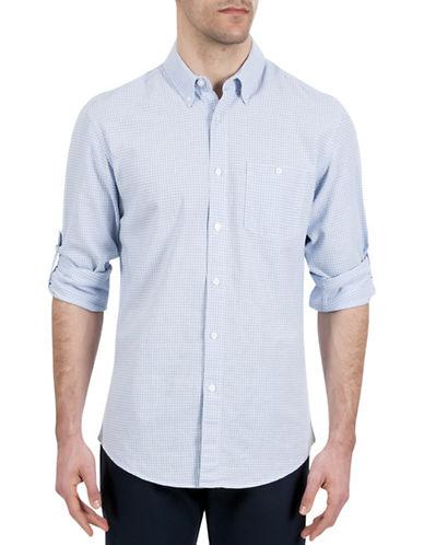Haggar Regular-Fit Roll-Tab Gingham Shirt-BLUE-X-Large
