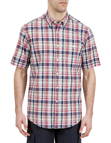 Haggar Regular-Fit Multi-Plaid Shirt-RED-X-Large