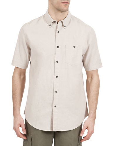 Haggar Regular-Fit Short Sleeve Shirt-BEIGE-Large