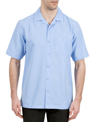 Haggar Short Sleeve Microfiber Pocket Shirt-BLUE-Medium