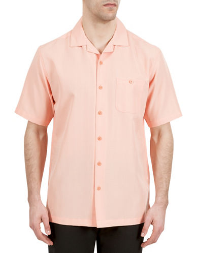 Haggar Short Sleeve Microfiber Pocket Shirt-ORANGE-Small