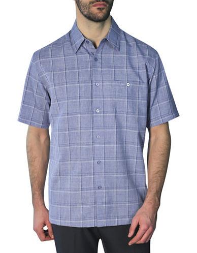 Haggar Short Sleeve Melange Plaid Shirt-BLUE-Medium