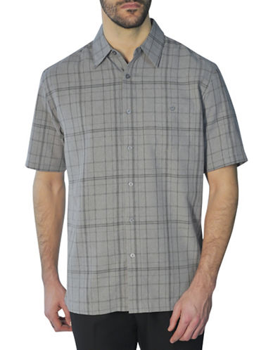 Haggar Short Sleeve Tonal Plaid Shirt-GREY-Medium