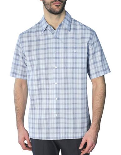 Haggar Regular-Fit Plaid Shirt-BLUE-Medium