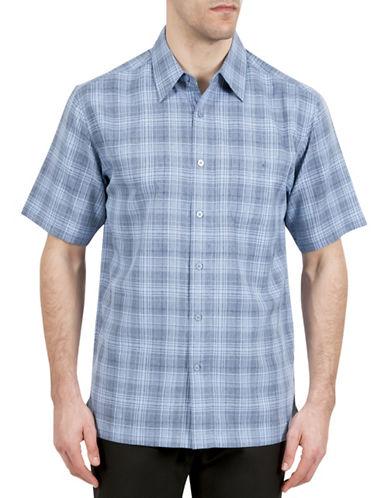 Haggar Microfiber Plaid Shirt-BLUE-Large