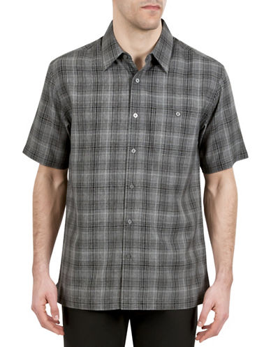 Haggar Microfiber Plaid Shirt-GREY-Small