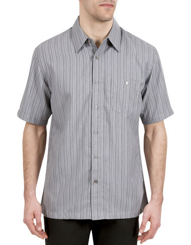 Haggar Short Sleeve Microfiber Stripe Shirt-GREY-Large