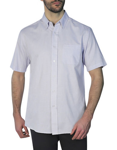 Haggar Short Sleeve Shirt-BLUE-Large