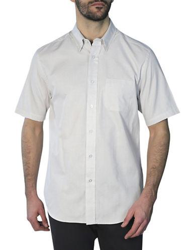 Haggar Short Sleeve Shirt-BEIGE-Small