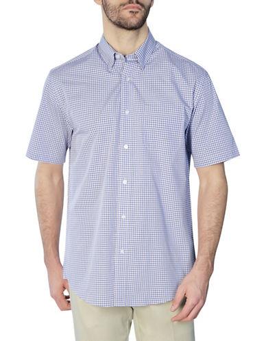 Haggar Short Sleeve Tonal Gingham Shirt-BLUE-Small