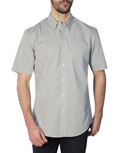 Haggar Short Sleeve Tonal Gingham Shirt-BEIGE-X-Large