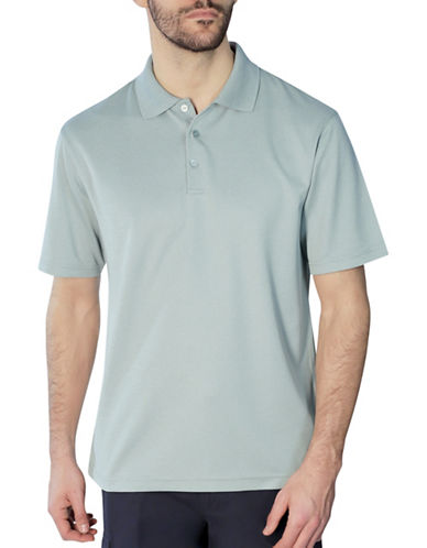 Haggar Short Sleeve Thin Stripe Polo Shirt-GREEN-Medium