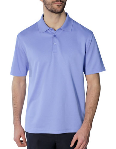 Haggar Short Sleeve Thin Stripe Polo Shirt-BLUE-Small