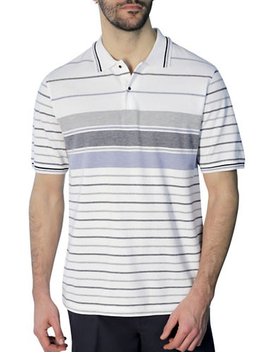 Haggar Birdseye Striped Pique Polo-WHITE-X-Large
