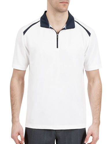 Haggar C18 Zip Short Sleeve Polo Shirt-WHITE-Large