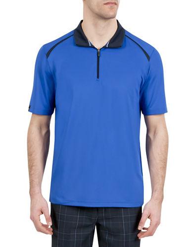 Haggar C18 Zip Short Sleeve Polo Shirt-BLUE-Large