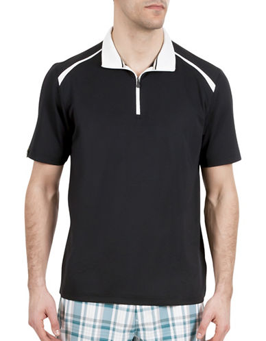Haggar C18 Zip Short Sleeve Polo Shirt-BLACK-Large