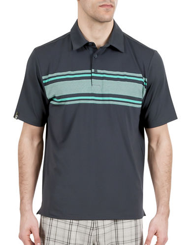 Haggar C18 Chest Stripe Polo-GREY-Large