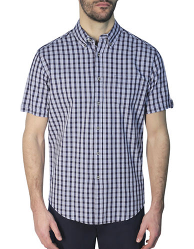 Haggar Heritage Regular-Fit Gingham Print Shirt-BLUE-Small