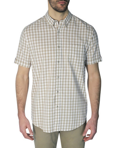 Haggar Heritage Regular-Fit Gingham Print Shirt-NATURAL-Large